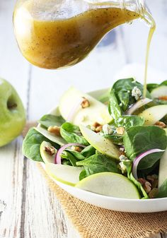 Apple Spinach Salad with Sweet & Sour Poppyseed Dressing | The Blond Cook