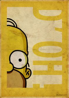Homer Simpson - Vintage style poster- 3ftdeep by 3ftDeep on deviantART