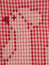 Chicken Scratch is usually worked on gingham check in order to give it the lacy appearance which has made it so popular. Star-like clusters that simulate lace are worked on gingham or gingham-type...