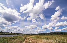 Wide angle panoramic view of long road with a single tree near a summer swamp…