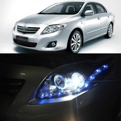559.55$  Buy here - http://aliu2p.worldwells.pw/go.php?t=1784163601 - New Blue LED DRL Angel Eye Projector Lens Headlight for Toyota Corolla 08-10