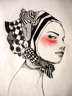 #illustration #fashion #model #scarf