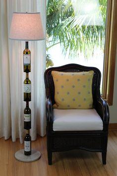 Custom Made Wine Bottle Floor Lamp! Custom Wine Bottles, Painted Wine Bottles, Decorated Bottles, Liquor Bottle Lamps, Glam Lamps, Beer Bottle Crafts, Microsoft, Wine Decor, Unique Lamps