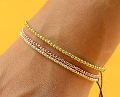 Gold Rose  beads  friendship bracelet by zzaval on Etsy, $18.50