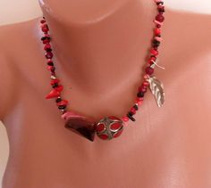 Necklace with Coral Jasper and Alpaca Silver  by SwedishShop, $24.90