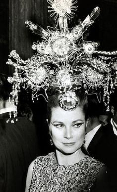 Princess Grace of Monaco wearing a Chinese goddess's headdress at a ball in Monte Carlo on 17 Mar 1969. The headdress was on display, with the gown, at Monaco exhibit.