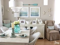 A beach lovers cottage! Take the tour here: http://beachblissliving.com/aqua-blue-beach-cottage-decor/