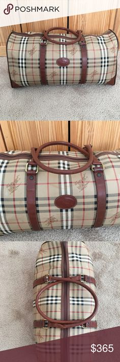 Burberry Weekender bag Authentic LARGE Burberry weekender bag. Made in Italy. Minor scratches and signs of wear on the handles and on the corners. Zipper works great. Inside is very clean. Pet free and smoke free home. Dimensions are 20L x 9.8H x 9.4W Burberry Bags Travel Bags
