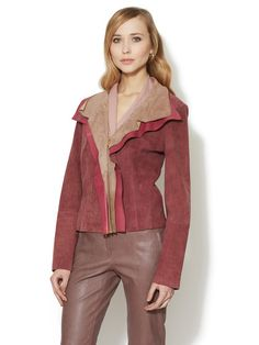 Layers, Lapels and 2-Tone, Oh-MY!  Lette Draped Lapel Leather Jacket by Escada at Gilt
