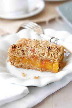 Peach Crumb Bars with Hazelnut Streusel Recipe | cookincanuck.com #dessert