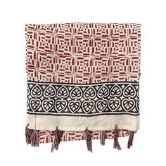 """Our generously sized graphic block printed tassel scarf is a perfect wrap, sarong, shawl or body scarf to take you from the pool to and evening out. Rich brick red and deep black dyes are hand printed on natural colored cotton. Details 100% Cotton Approximately 44"""" x 68"""" All of our woodblock printed scarves carry with them slight handmade imperfections as part of their charm. Printed Scarves, Summer Scarves, Woodblock Print, Graphic Prints, Dyes, Shawl, Tassels, Brick, Im Not Perfect"""