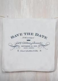 """This personalized printed handkerchief is a novel Save the Date that will really make an impression with your wedding guests. Here is a perfect way to give notice that at your wedding they should expect the unexpected. Each personalized handkerchief is packaged with a decorative paper band and clear cellophane bag. Features and Facts: 12"""" W x 12"""" H. Cotton Fabric. Text Font Standard. Personalize with 5 lines of text. """"Save The Date"""" is standard and included. Line 1: Enter up to 26…"""
