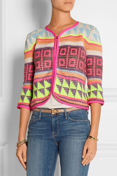 I know it's not for everyone, but neon + intarsia is like a dream to me. And yes, this IS crochet! Jacket by CeliaB
