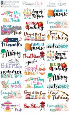 Planner Stickers - Being Productive: Easy Time Management Planning Tricks Summer Fun List, Summer Bucket Lists, Free Summer, Summer Ideas, Printable Planner Stickers, Printables, Happy Planner, Passion Planner, Science Classroom