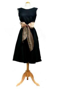 Vintage Inspired Linen Wrap Dress in Black by loveandmaude on Etsy