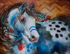 APPALOOSA INDIAN WAR HORSE ORIGINAL OIL PAINTING by MARCIA BALDWIN
