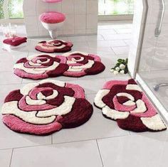 Bathroom Rug Sets - Make a Wise Buying Choice - Uncinetto Fur Carpet, Rugs On Carpet, Shaw Carpet, Brown Carpet, Red Carpets, Mercerized Cotton Yarn, Pom Pom Rug, Latch Hook Rugs, Carpet Cleaning Company