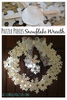 Turn the kids puzzle pieces into a stunning DIY snowflake wreath made of painted puzzle pieces. Great winter craft for kids to help with