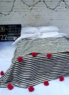 Moroccan Pom Pom Blanket White/Black Stripes with Hot by DarBeida