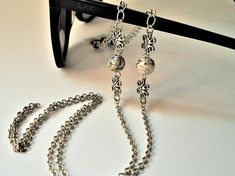 Marble Porcelain & Floral/Silver Eyeglass Chain/3