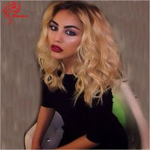 Two tone ombre 1b/27 short bob brazilian human hair wig lace front wig honey blonde full lace wig for black women with baby hair(China (Mainland))