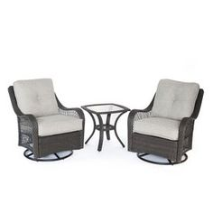 Hanover Outdoor Furniture Orleans 3-Piece Wicker Patio Conversation Set with Silver Cushions