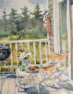 """""""'Weber Grill with Captain's Chair' by Charles Reid Watercolor Sketchbook, Watercolor Projects, Watercolor Artists, Watercolor Landscape, Abstract Watercolor, Watercolor Illustration, Watercolour Painting, Watercolours, Watercolor Sunflower"""