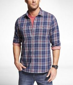 FITTED PLAID SHIRT at Express