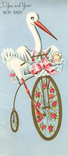 Stork on bicycle with new baby.