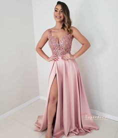Pink Long Prom Dresses satin Evening Dresses A-Line Formal Dresses CR 5949 Best Formal Dresses, Prom Dresses Long Pink, Prom Dresses For Teens, Short Dresses, Bridesmaid Dresses, Blush Pink Long Dress, Prom Gowns, Homecoming Dresses, Party Dresses