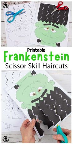 This Frankenstein Halloween Scissor Skills Haircut Activity is so fun! It's a great way for kids to enjoy cutting practice and developing their scissor skills this spooky season. There are 22 fun haircuts to choose from in B/W and full colour. There's also 6 design your own hairstyle Halloween worksheets to enjoy too. Halloween Worksheets, Halloween Activities, Fun Halloween Crafts, Halloween Hair, Halloween Party, Activities For 5 Year Olds, Cutting Activities, Learning Activities, Art For Kids