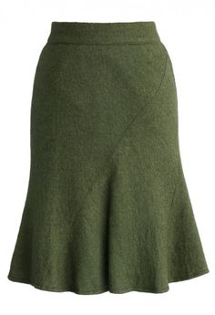 Flare Tweed Skirt in Green