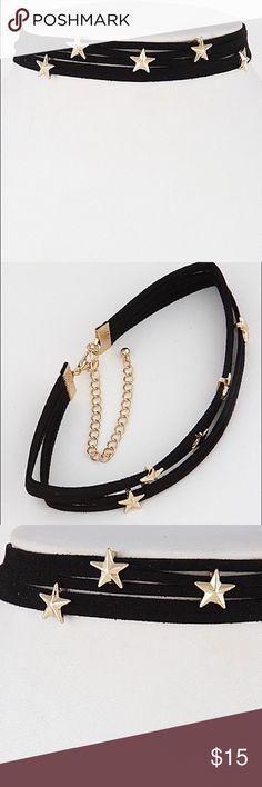 Spotted while shopping on Poshmark: Black suede gold star hardware wrap choker! #poshmark #fashion #shopping #style #Nasty Gal #Jewelry