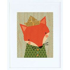 Shy Fox Framed Print - $44.00  Printed on sustainably harvested maple veneer and framed in a modern white hardwood frame. Includes a glass front and comes ready to hang.