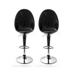 Lot de 2 chaises de bar Egg noir