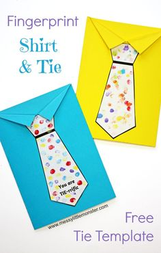 Father's Day tie card with free printable tie template. A fun shirt and tie craft for kids. An easy Father's Day craft for toddlers and preschoolers. Tell dad he is Tie-rrific! clever fathers day gifts, fathers day gifts for dad, fathers day gifts adult Kids Fathers Day Crafts, Fathers Day Art, Dad Crafts, Happy Fathers Day, Gifts For Kids, Fathers Day Presents, Crafts To Make, Arts And Crafts, Father's Day Card Template