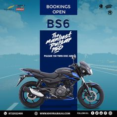 Presenting all-new Pulsar 150 with Twin Disc – the biggest, sportiest and manliest Pulsar 150 yet! Bookings Open for Pulsar 150 Twin Disc. Call Now: 8722022400 - Twin Disc, Marketing Poster, Honda Bikes, Ads Creative, Sale Poster, Bike Life, Indian Bridal, Twins, Graphic Design
