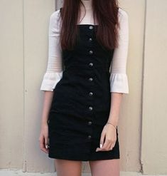 Bib Overall Dress, Winter Outfits, Black overalls button down dress pinafore. Teen Fashion Outfits, Mode Outfits, Outfits For Teens, Dress Outfits, Fall Outfits, Casual Outfits, Fashion Dresses, Womens Fashion, Grunge Outfits