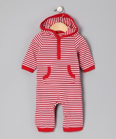 White & Red Stripe Hooded Playsuit - Infant Leveret £6.99 http://www.zulily.co.uk/invite/anaiss211