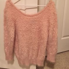 Plush silky light pink sweater Size XL but could fit a large as well, no holes or stains, looks brand new, only worn a few times, cozy and super warm! Softest sweater I've ever felt make an offer :-) Wet Seal Sweaters Crew & Scoop Necks