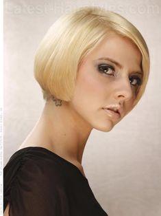 Short Blonde Bob Dramatic Cut Side View
