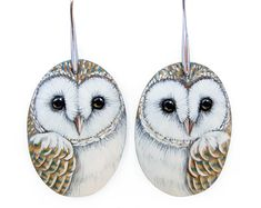 Browse unique items from RobertoRizzoArt on Etsy, a global marketplace of handmade, vintage and creative goods. Animal Earrings, Owl Earrings, Unique Earrings, Hand Painted Rocks, Painted Owls, Wildlife Art, Barn Owls, Shell Jewelry, Owl Jewelry