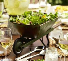 Wheelbarrow serve bowl, what a unique way to serve a salad or other side dish in, especially for a GARDEN PARTY!
