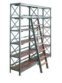This is an archivist's dream. And it's cute, too!  Bookshelf with Ladder by Barreveld on Gilt Home