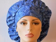 Scrub Hats Blue Paisley Shimmering Shades of Blue by SilverCaps