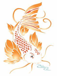 Koi Stencil - x inch (M) - Reusable Asian Oriental Carp Fish Animal Pond Wall Stencil Template - Use on Paper Projects Scrapbook Journal Walls Floors Fabric Furniture Glass Wood etc. Fish Stencil, Animal Stencil, Stencil Painting, Stenciling, Fabric Drawing, Wallpaper Stencil, Large Stencils, Types Of Painting, Scrapbook Journal