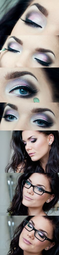 Purple smokey eye makeup... pretty with glasses