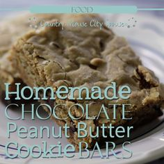 Homemade Chocolate Peanut Butter Cookie Bars- Country Mouse City Spouse Who doesn't love a good, warm, gooey chocolate chip cookie? What if it also had peanut butter chips mixed in to give your cookie a little something extra? These Homemade Chocolate Peanut Butter Cookie Bars are easy to make and your entire family will adore them. Just don't let them know how easy they are to make or you will be making them all the time! | Food | Recipes | Cookies | Snacks | Desserts | Baking | Homemaking…