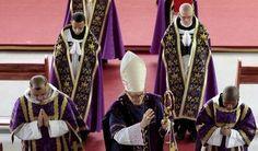 French Bishop Jean-Michel Faure (C) walks during a mass in Nova Friburgo near Rio de Janeiro March 28, 2015. REUTERS/Stephen Eisenhammer