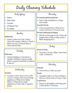Daily Cleaning Schedule-cool idea to break it up so it is not so daunting.